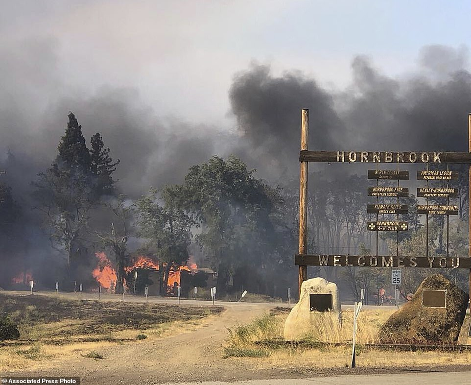 The Klamathon Fire burns in Hornbrook, california. A local california official says a deadly blaze burning near the Oregon border moved swiftly through the rural area that is home to many retirees