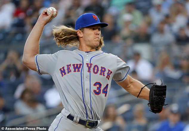 New York Mets ace pitcher Noah Syndergaard was placed on the disabled list after he contracted the virus from a visit to a baseball camp (pictured pitching against the Yankees)