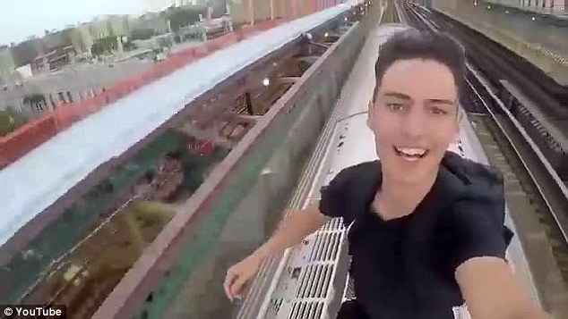 Three daredevils recorded themselves riding on top of subway trains in New York City