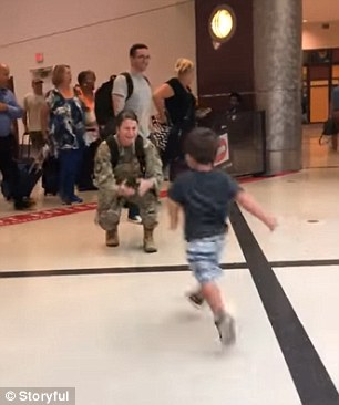 The brief clip starts with the toddler - two-year-old Bennett - immediately running toward his mom, Air Force Staff Sergeant Chelsey Speicher