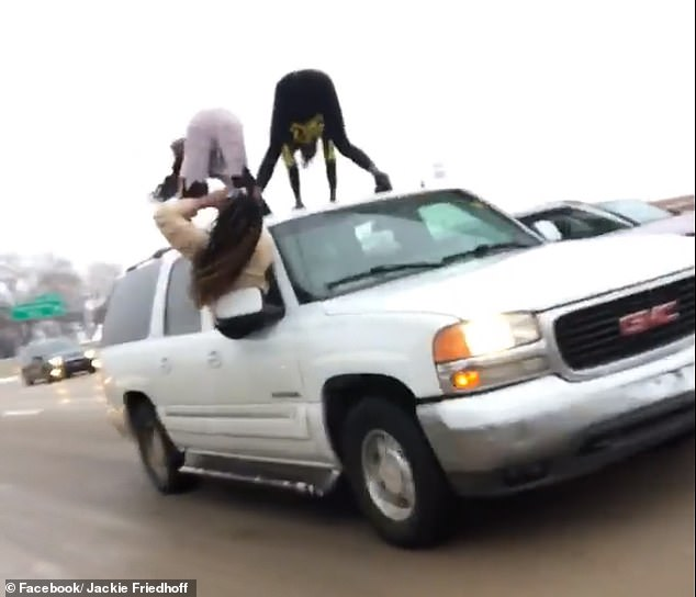 The Monday videos were filmed as the SUV drove down I-64 past the St. Louis Science Center