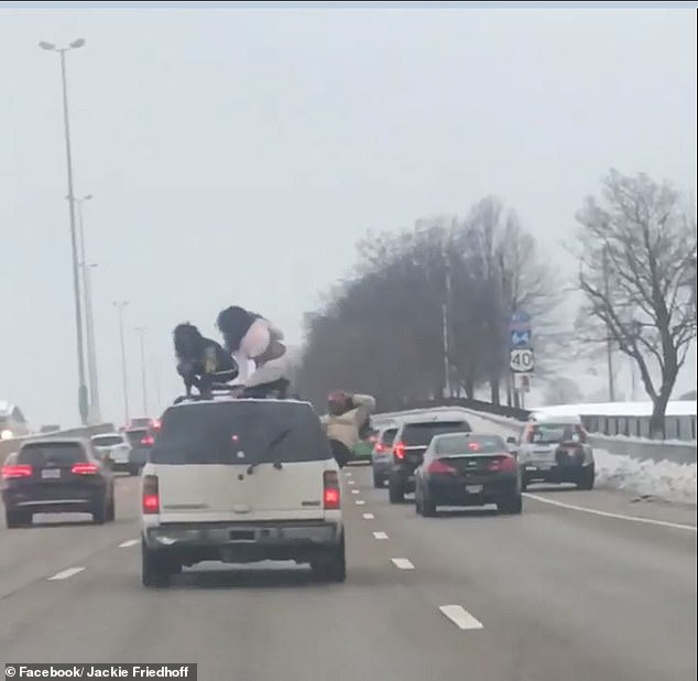 The two girls can be cited for riding on the roof while the driver can be cited for going too slow and the passenger, for riding without a seatbelt