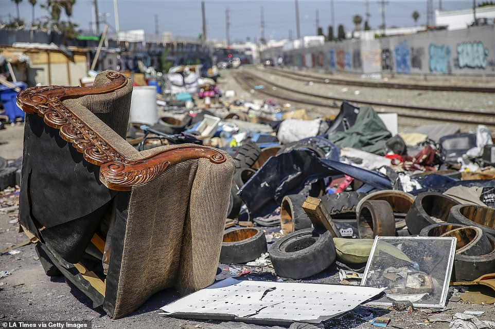 The city has said it will dispose of sofas, refrigerators and other large items in the 50-block area of downtown known as Skid Row.Piles of trash remain near the intersection of 25th St. and Long Beach Ave