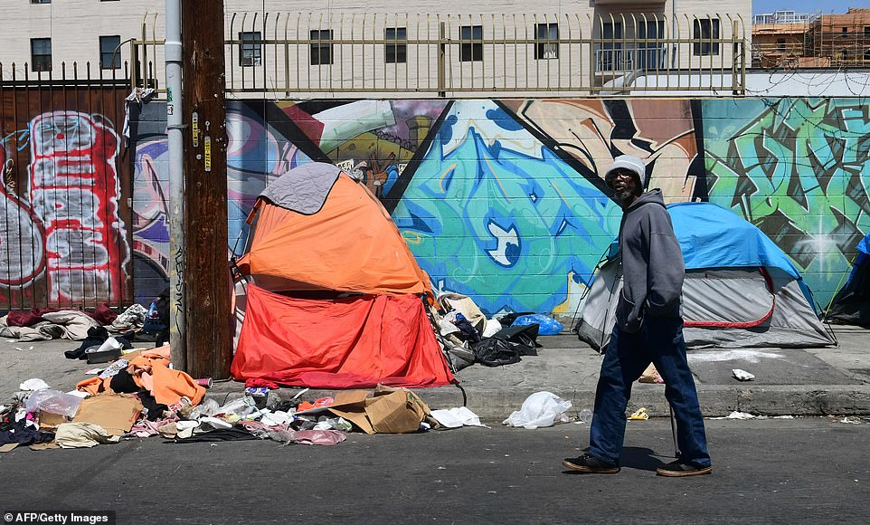 But the decisionto not cap the total amount of property that homeless people can keep sparked fury among some officials who say it will 'only perpetuate the public health crisis that already exists in Skid Row'