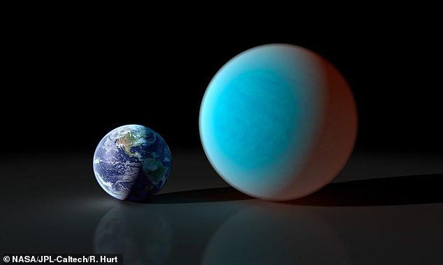 The star has one planet in orbit around it, Gliese 3470b, which is like a cross between Earth and Neptune in terms of size, mass and composition. Pictured: Earth next to a mini-Neptune, at scale (file image)