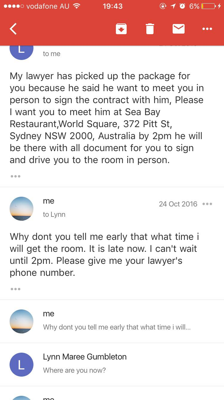 Emails by scammer