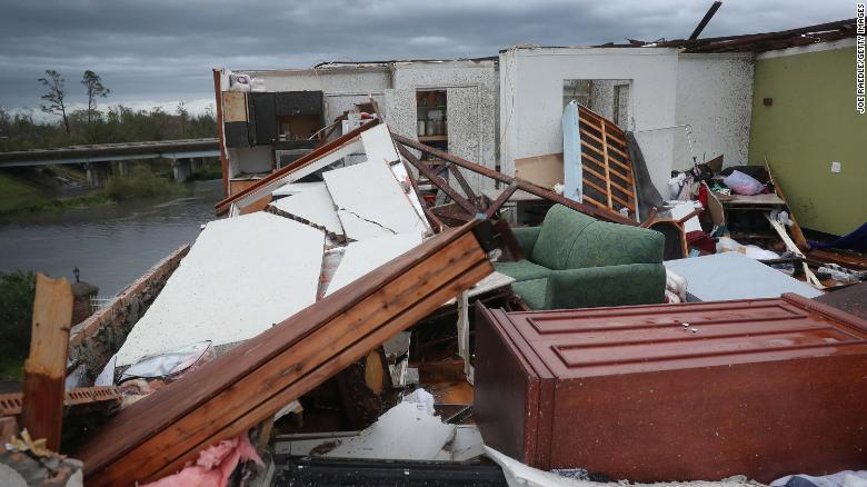 A Lake Charles hotel room sits exposed to the elements on Thursday after its roof was torn off.